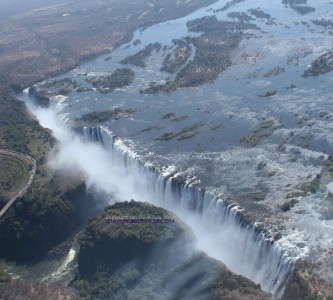 The Victoria Falls as seen from a helicopter on a flight of the Angels. Tour by Lion of Africa.